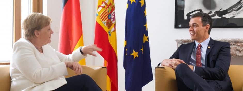 Angela Merkel y Pedro Sánchez, durante una reunión en Bruselas en 2019.