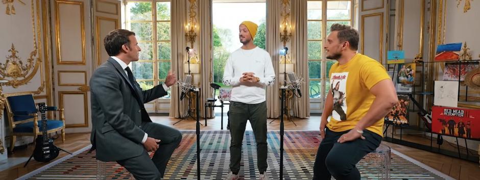 Macron junto a los streamers franceses Mcfly y Carlito.