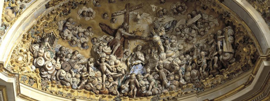 Detalle de la bóveda de la sacristía mayor de la catedral de Burgos realizado en 1765