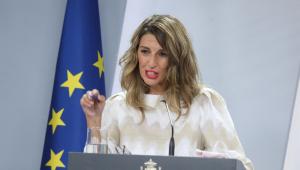 Yolanda Díaz en una rueda de prensa posterior a un Consejo de Ministros