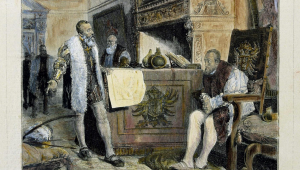 """PIZARRO , FRANCISCO CONQUISTADOR ESPAÑOL . TRUJILLO 1475 - 1541 """" ENTREVISTA CON EL REY CARLOS I TRAS LA VUELTA DE SU PRIMERA EXPEDICION A PERU """" GRABADO  ILUSTRACION ESPAÑOLA Y AMERICANA"""