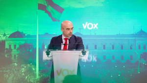 Jorge Buxade, en la sede de Vox.