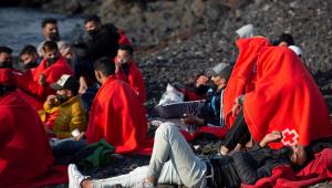 Inmigrantes, a su llegada a la costa norte de Lanzarote