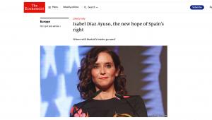Isabel Díaz Ayuso, en la información de The Economist