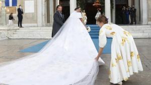 Nina Flohr a la llegada a su boda con el Príncipe Philippos de Grecia