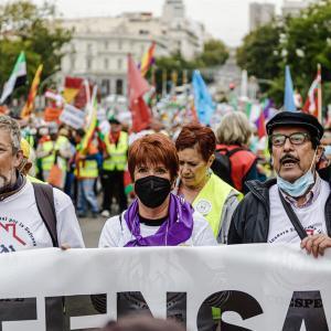 Imagen de la manifestación celebrada esta mañana en Madrid