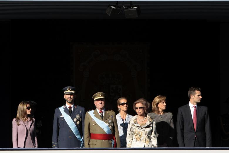 Princess Letizia Ortiz, Spain's Crown Prince Felipe, Spain's King Juan Carlos, Princess Elena, Queen Sofia, Princess Cristina and her husband Inaki Urdangarin, from left, attend a military parade, during the holiday known as Dia de la Hispanidad, Spain's National Day, in Madrid, Sunday, Oct. 12, 2009.