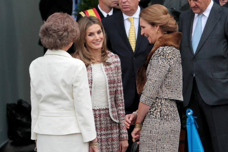 Queen Sofia, Princess Letiza and princess Elena during the Military Parade on the National Day of Spain.  Madrid,12-10-2012