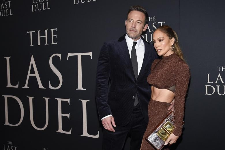 """Actor Ben Affleck and actress and singer Jennifer Lopez at the premiere of """"The Last Duel"""" on Saturday, Oct. 9, 2021, in New York."""
