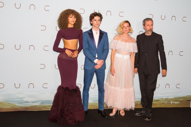 Zendaya Coleman, Timothee Chalamet, Rebecca Ferguson, Denis Villeneuve attends 'DUNE' Paris film premiere at Grand Rex in Paris in Paris, France on September 06, 2021.
