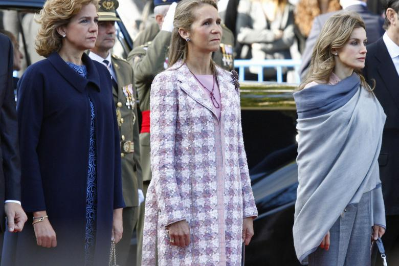 CrownPrincess Letizia, Princess Cristina and Princess Elena attending a military parade on the ocassion of Spain's national day in Madrid, Spain, 12 October 2010.
