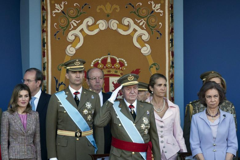 Princess Letizia Ortiz, Spain's Crown Prince Felipe, Spain's King Juan Carlos, Princess Elena, and Queen Sofia from left, attend a military parade, during the holiday known as Dia de la Hispanidad, Spain's National Day, in Madrid, Wednesday, Oct. 12, 2011.