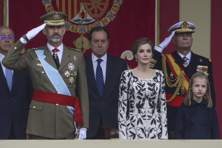 Kings of Spain, Felipe VI and Letizia Ortiz and their daughter princess Leonor of Borbon attending a military parade, during the known as Dia de la Hispanidad, Spain's National Day, in Madrid, on Wednesday 12nd October, 2016.