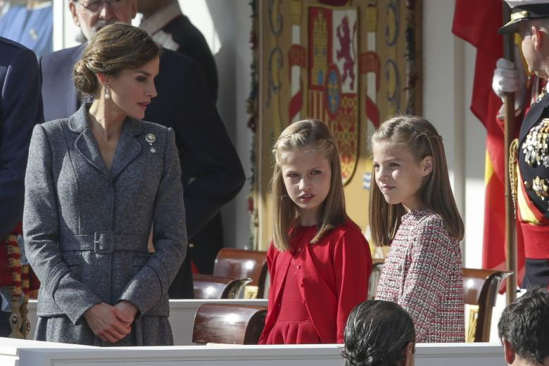 Spanish Queen Letizia Ortiz and their daughters princesses Leonor and Sofia de Borbon attending a military parade, during the known as Dia de la Hispanidad, Spain's National Day, in Madrid, on Thursday 12nd October, 2017.