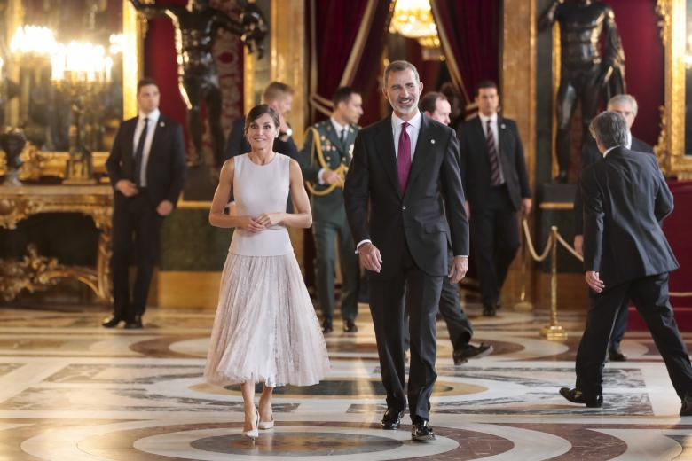 Spanish Kings Felipe VI and Letizia Ortiz attending a reception at Royal Palace during the known as Dia de la Hispanidad, Spain's National Day, in Madrid, on Friday 12nd October, 2018