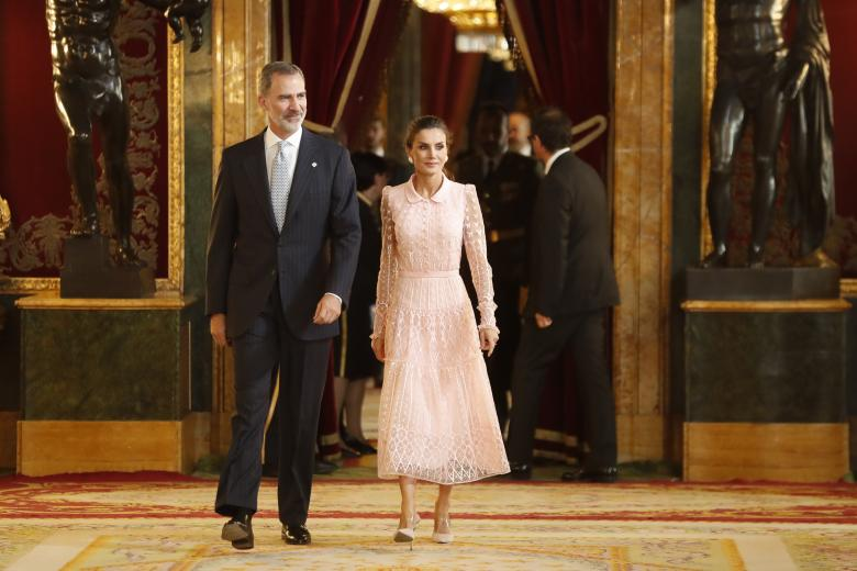 Spanish King Felipe VI and Queen Letizia Ortiz attending a reception at Royal Palace during the known as Dia de la Hispanidad, Spain's National Day, in Madrid, on Saturday 12nd October, 2019.