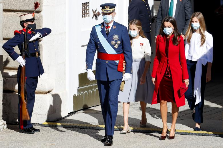 Spanish King Felipe VI and Queen Letizia Ortiz with daughters Princess of Asturias Leonor de Borbon and Sofia de Borbon attending a military parade during the known as Dia de la Hispanidad, Spain's National Day, in Madrid, on Monday 12, October 2020.