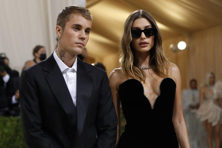 """Hailey Baldwin and singer Justin Bieber attend The Metropolitan Museum of Art's Costume Institute benefit gala celebrating the opening of the """"In America: A Lexicon of Fashion"""" exhibition on Monday, Sept. 13, 2021, in New York."""