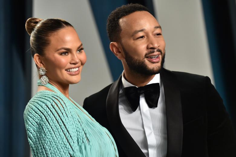 Model Chrissy Teigen and John Legend attending the Vanity Fair Oscar Party 2020 on February 9, 2020 in Beverly Hills, CA.