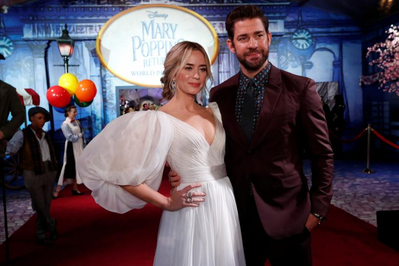 """Actress  Emily Blunt and her husband John Krasinski at the world premiere of movie """" Mary Poppins Returns """" in Los Angeles, California, U.S., November 29, 2018"""