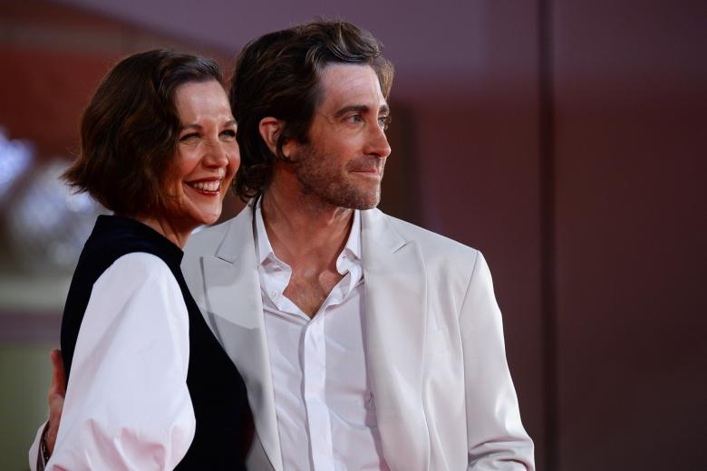 Actors Jake Gyllenhaal and Maggie Gyllenhaal  at the premiere of the film 'The Lost Daughter' during the 78th edition of the Venice Film Festival in Venice, Italy, Friday, Sep, 3, 2021.