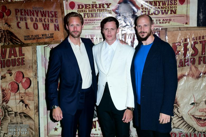 Alexander Skarsgard, Bill Skarsgard and Gustaf Skarsgard attending the IT Chapter Two European Premiere held at The Vaults in Waterloo, London.