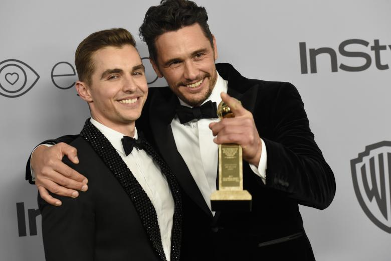 Actors Dave Franco, left, poses with James Franco at the InStyle and Warner Bros. Golden Globes afterparty on Sunday, Jan. 7, 2018, in Beverly Hills, Calif.
