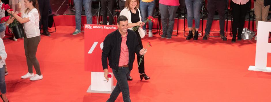 Pedro Sánchez en un acto del partido