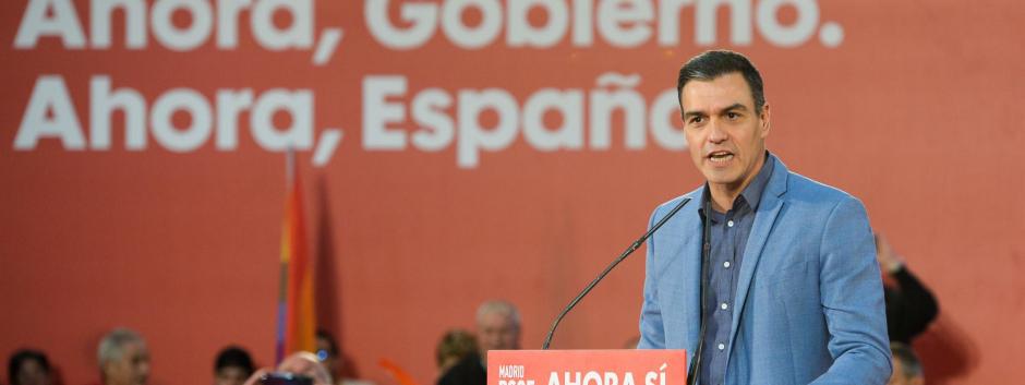 El presidente del Gobierno, Pedro Sánchez, en la campaña electoral de noviembre 2019