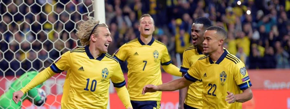 Celebración de un gol por parte de la selección de Suecia frente a Grecia