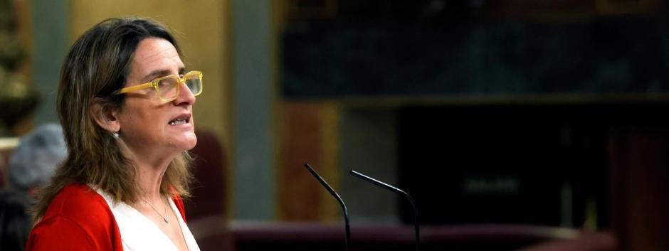 La ministra de Transición Ecológica, Teresa Ribera durante su intervención en el pleno