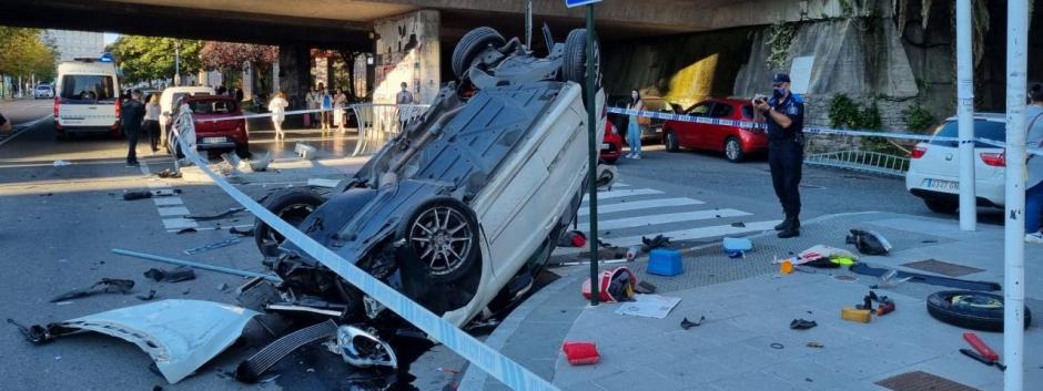 Siniestro del coche que cayó desde el puente