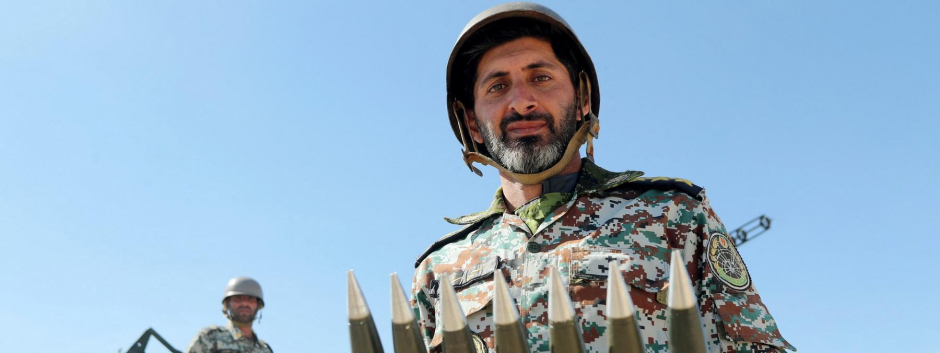 Entrenamiento de defensa iraní, foto de archivo