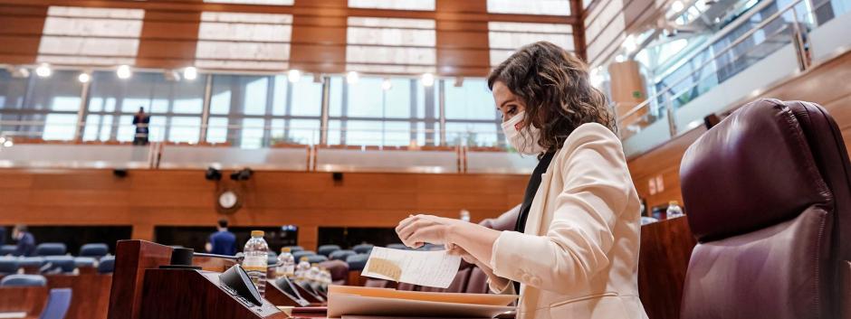 La presidenta madrileña Isabel Díaz Ayuso en la Asamblea de Madrid, hoy