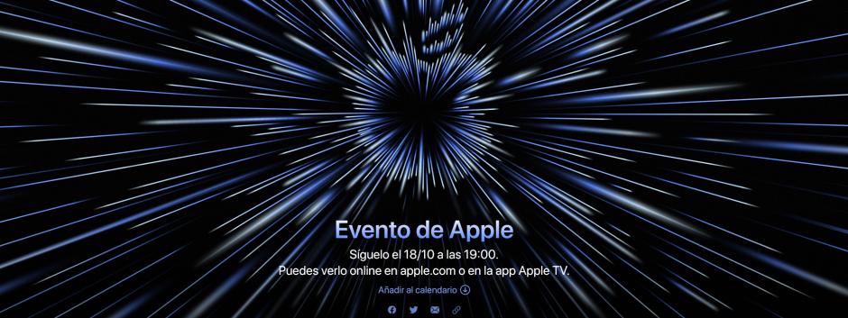 Imagen del Apple Event del 18/10 en la web de Apple