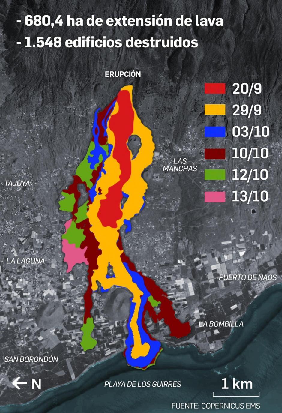 Gráfico que ilustra el avance de la lava con datos de la madrugada de este jueves