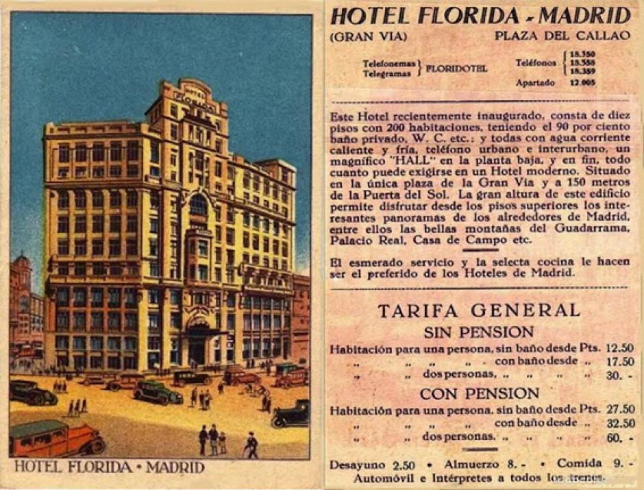 Precios de las habitaciones en el Hotel Florida, Madrid