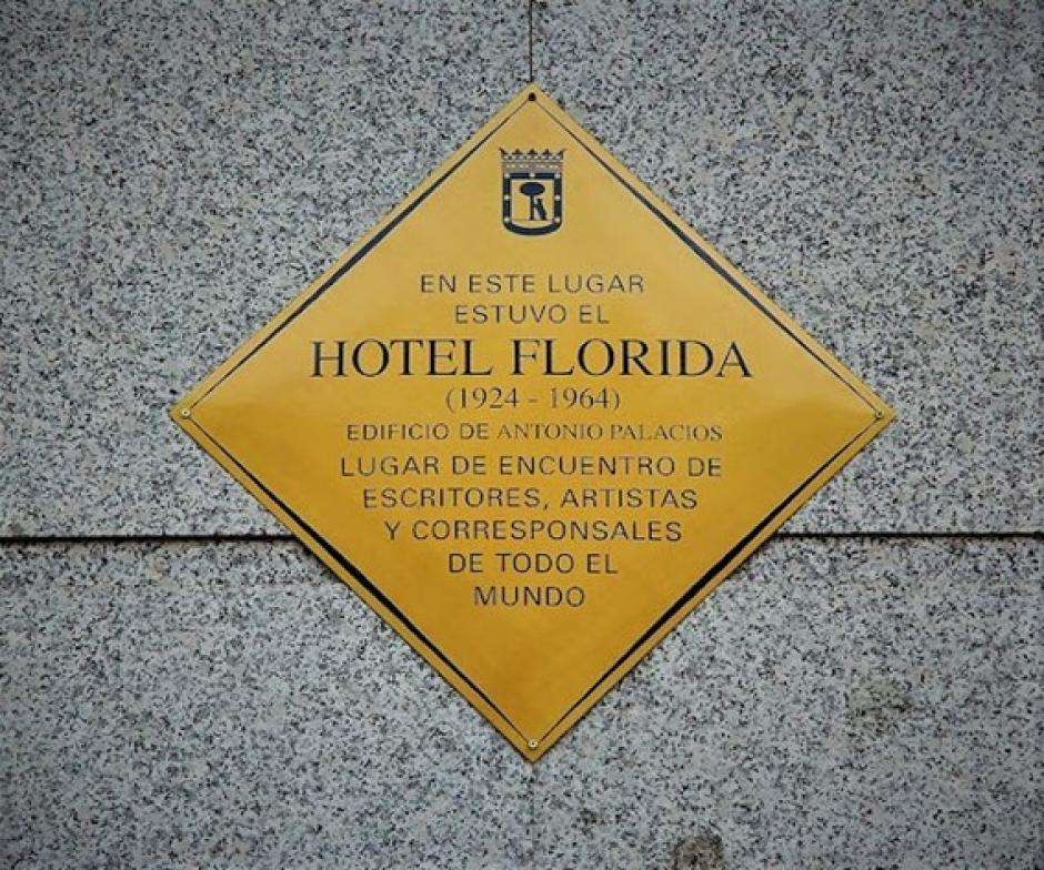 Placa conmemorativa del Hotel Florida, Madrid
