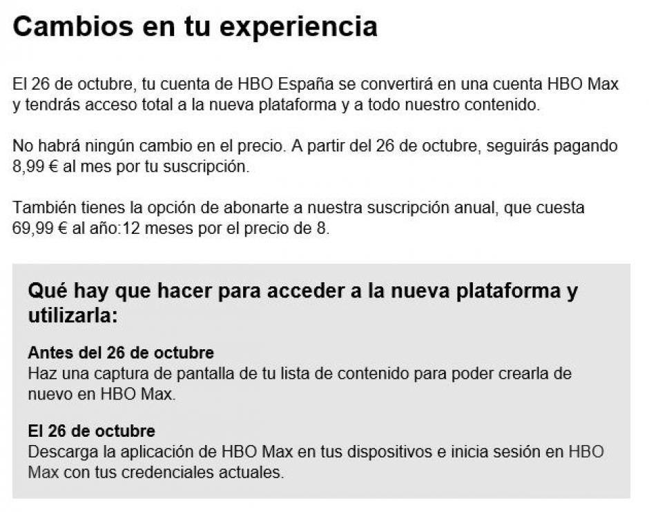 Mail de HBO a sus clientes
