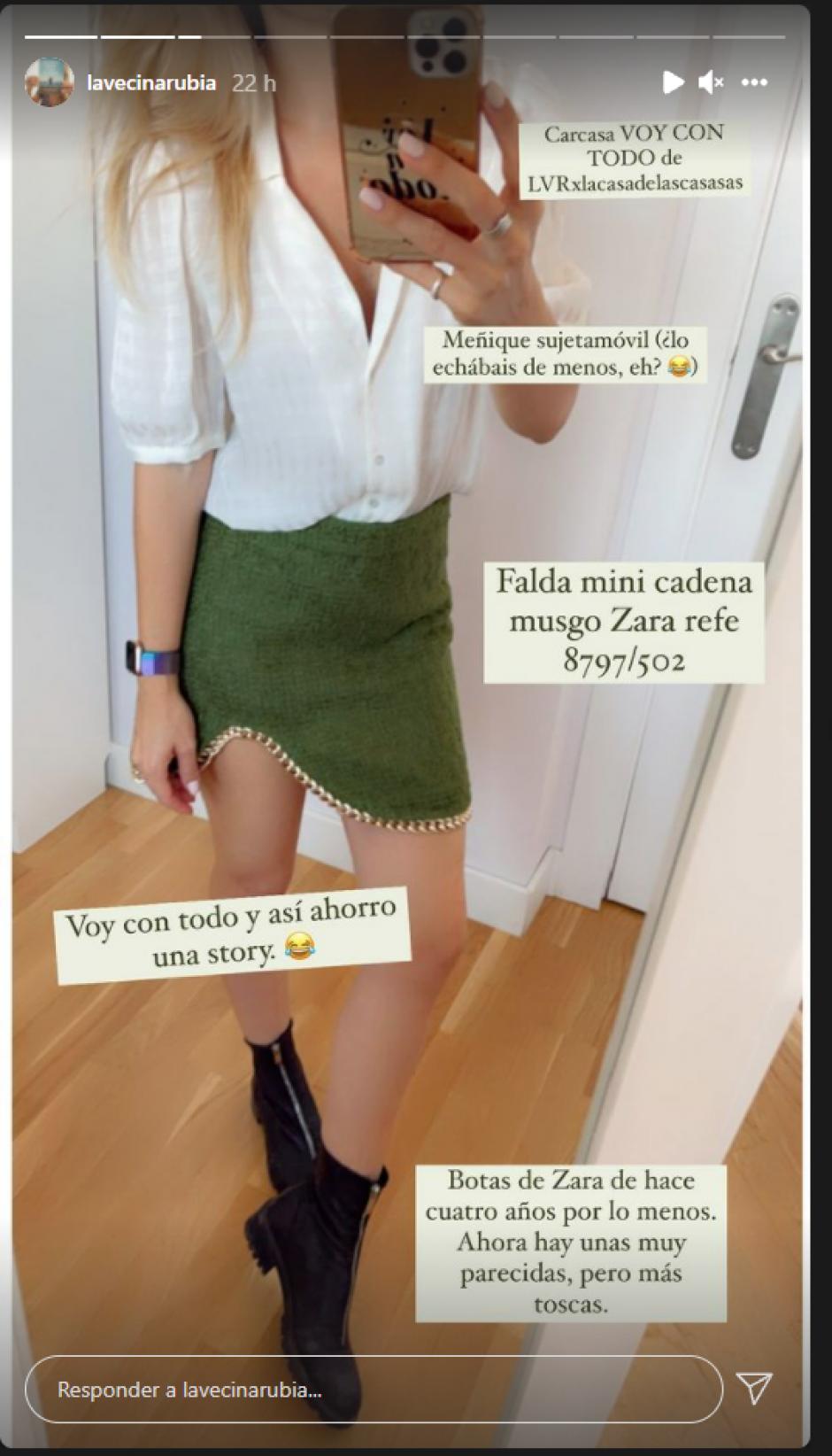 El look elegido por La Vecina Rubia para estrenar su nueva falda